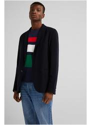 Springfield Long Sleeve Plain Business Jacket for Men, Small, Dark Blue