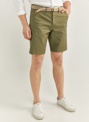 Springfield Washed Bermuda Shorts with Belt for Men, 40 EU, Green