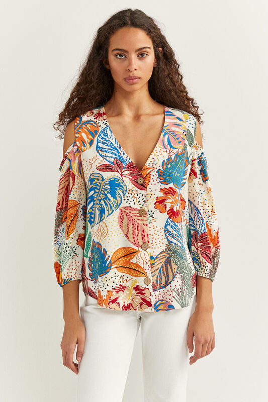 Springfield Long Sleeve Printed Cold Shoulder Shirt for Women, 42 EU, Beige