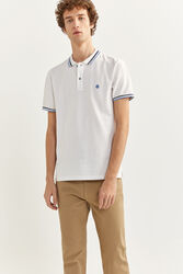 Springfield Short Sleeve Slim Fit Tipped Polo Shirt for Men, Small, White