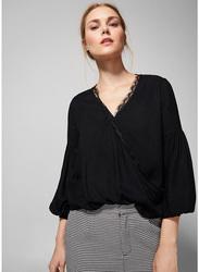 Springfield Long Sleeve Plain Blouse for Women, 38 EU, Black