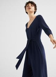 Springfield Long Sleeve Cotton Fancy Jumpsuit for Women, Medium, Light Blue