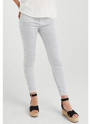 Springfield Cotton Fancy Pants for Women, 40 EU, Medium Blue