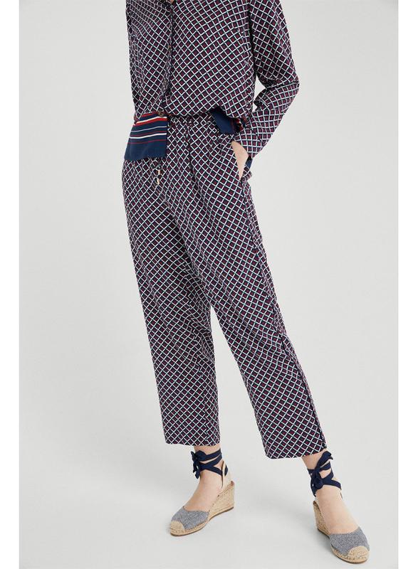 Springfield Cotton Fancy Pant for Women, 40 EU, Light Blue/Red