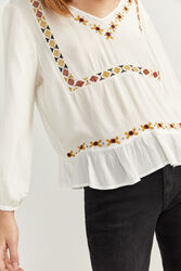 Springfield Long Sleeve Ethnic Embroidery Shirt for Women, 38 EU, Beige