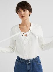 Springfield Long Sleeve V-Neck Sweatshirt for Women, Extra Large, White Print
