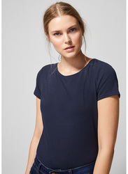 Springfield Short Sleeve Plain Basic Round Neck T-Shirt for Women, Large, Light Blue