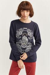 Springfield Long Sleeve Hand of Fatima Print Sweatshirt for Women, Medium, Black