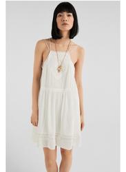 Springfield Square Neck Knitted Mini Dress, 38 EU, White