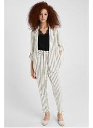 Springfield Strips Pattern Cotton Fancy Pant for Women, 40 EU, Beige