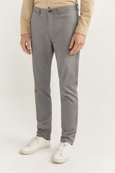 Springfield Textured Straight Fit Chinos for Men, 38 EU, Light Grey