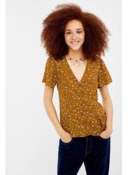 Springfield Plain Short Sleeve V-Neck Blouse for Women, 38 EU, Sand