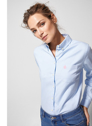 Springfield Long Sleeve Plain Blouse for Women, 36 EU, Medium Blue