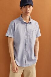 Springfield Short Sleeve Dobby Shirt for Men, Medium, Grey
