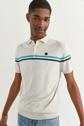 Springfield Short Sleeve Stripe Jersey-Knit Polo Shirt for Men, Large, Charcoal Grey