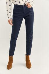 Springfield Slim Fit Cropped Denim Trousers for Women, 38 EU, Blue
