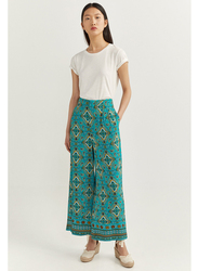 Springfield Cotton All Over Print Fancy Pant for Women, 36 EU, Green