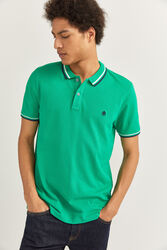 Springfield Short Sleeve Slim Fit Tipped Polo Shirt for Men, Extra Large, Green