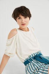 Springfield Plain Short Sleeve Round Neck Blouse for Women, 38 EU, Multicolor