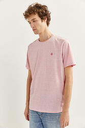 Springfield Short Sleeve Micro Striped T-Shirt for Men, Small, Pink