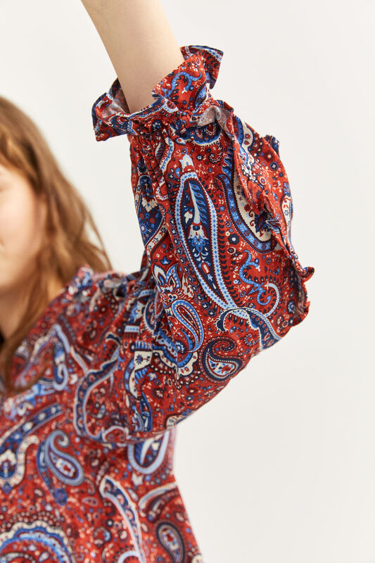 Springfield Flounced Sleeve Printed Blouse for Women, 40 EU, Orange