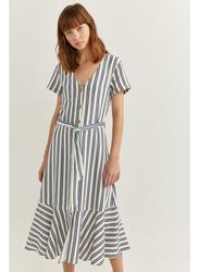 Springfield Linen Printed Knitted Midi Dress, 40 EU, Medium Blue/White