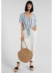 Springfield Plain Short Sleeve V-Neck Blouse for Women, 38 EU, Light Grey/Silver