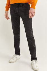 Springfield Dark Wash Skinny Denim Jeans for Men, 34 EU, Black