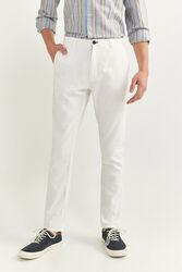 Springfield Slim Fit Linen Blend Chinos for Men, 42 EU, White
