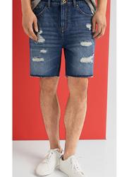 Springfield Denim Bermuda Shorts for Men, 36 EU, Medium Blue