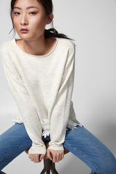 Springfield Long Sleeve Round Neck Knit Sweatshirt for Women, Small, White