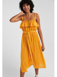 Springfield Frilled Details Knitted Midi Dress, 40 EU, Yellow