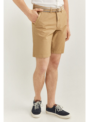 Springfield Washed Bermuda Shorts with Belt for Men, 40 EU, Beige