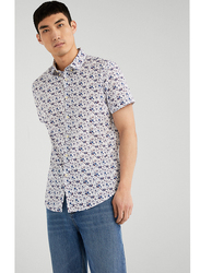 Springfield Short Sleeve Printed Fancy Casual Shirt for Men, Double Extra Large, White