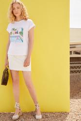 Springfield Short Sleeve Fancy Round Neck T-Shirt for Women, Medium, Multicolor