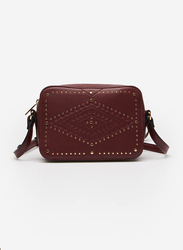 Springfield Engraved Studs Details Crossbody Bag for Women, Brown
