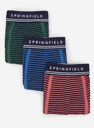 Springfield 3-Piece Striped Pattern Underwear Set for Men, Green/Blue/Red, Small