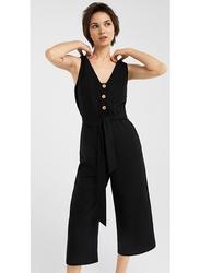 Springfield Sleeveless Cotton Fancy Jumpsuit for Women, 40 EU, Black