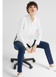 Springfield Plain Long Sleeve Collared Blouse for Women, 38 EU, White