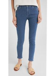 Springfield Fancy Striped Denim Jeans for Women, 40 EU, Medium Blue
