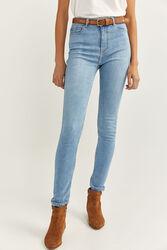 Springfield Sculpt High Rise Jeans for Women, 44 EU, Light Blue