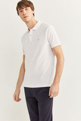 Springfield Short Sleeve Slim Fit Pique Polo Shirt for Men, Large, White