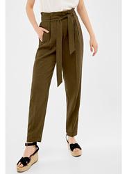 Springfield Cotton Fancy Pant for Women, 40 EU, Olive