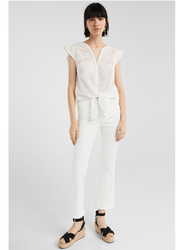 Springfield Plain Short Sleeve V-Neck Blouse for Women, 38 EU, White