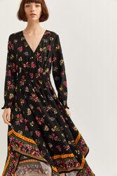 Springfield Long sleeve Asymmetric Midi Dress, 44 EU, Black