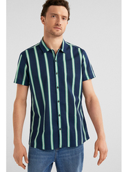Springfield Short Sleeve Striped Fancy Casual Shirt for Men, Extra Large, Dark Blue