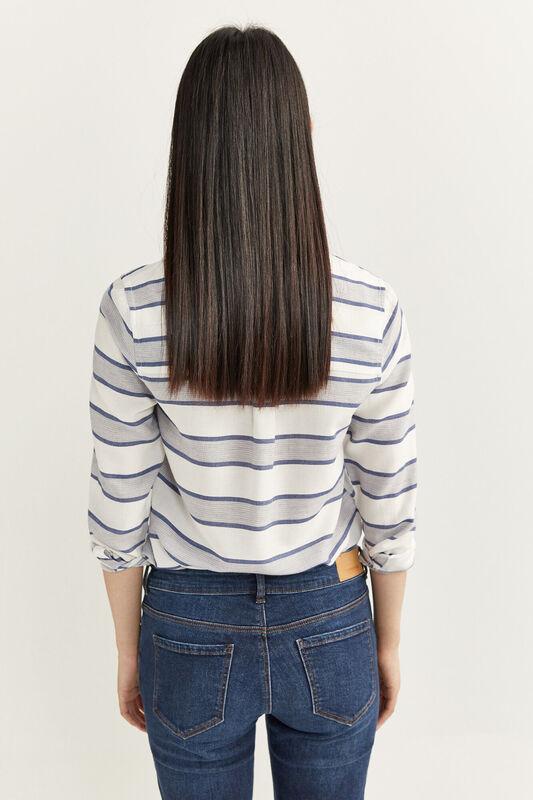 Springfield Long Sleeve Horizontal Striped Shirt for Women, 34 EU, Blue
