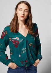 Springfield Long Sleeve Plain Blouse for Women, 38 EU, Green