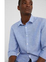 Springfield Long Sleeve Linen Shirt for Men, Small, Medium Blue