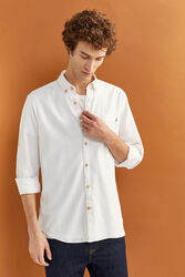 Springfield Long Sleeve Organic Cotton Shirt for Men, Double Extra Large, White